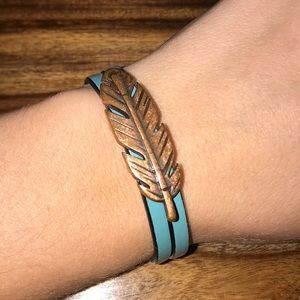 Jewelry - Teal Leather Rose Gold Feather Bracelet